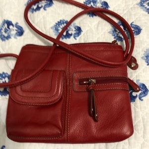 Leather red crossbody purse Like New